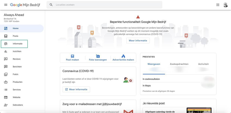 Google Mijn Bedrijf informatie tijdelijk gesloten aanpassen - Always Ahead Online Marketing en Webdesign