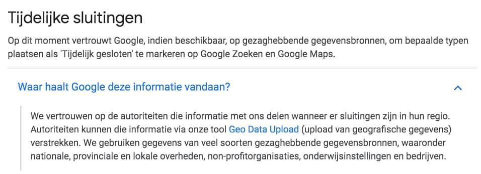 Tijdelijk gesloten melding Google - Always Ahead Online Marketing en Webdesign