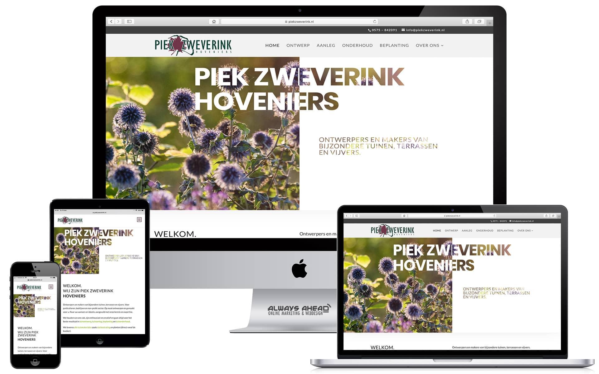 Nieuwe website Piek Zweverink Hoveniers - Always Ahead Online Marketing en Webdesign